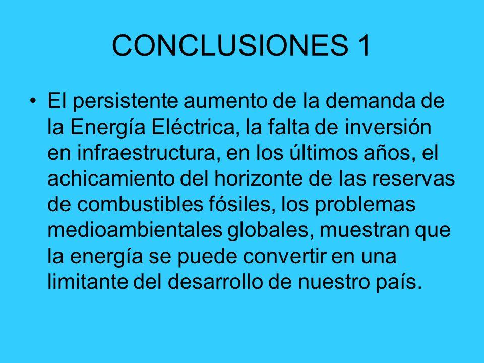 CONCLUSIONES 1 El persistente aumento de la demanda de la Energía Eléctrica, la falta de inversión en infraestructura, en los últimos años, el achicam