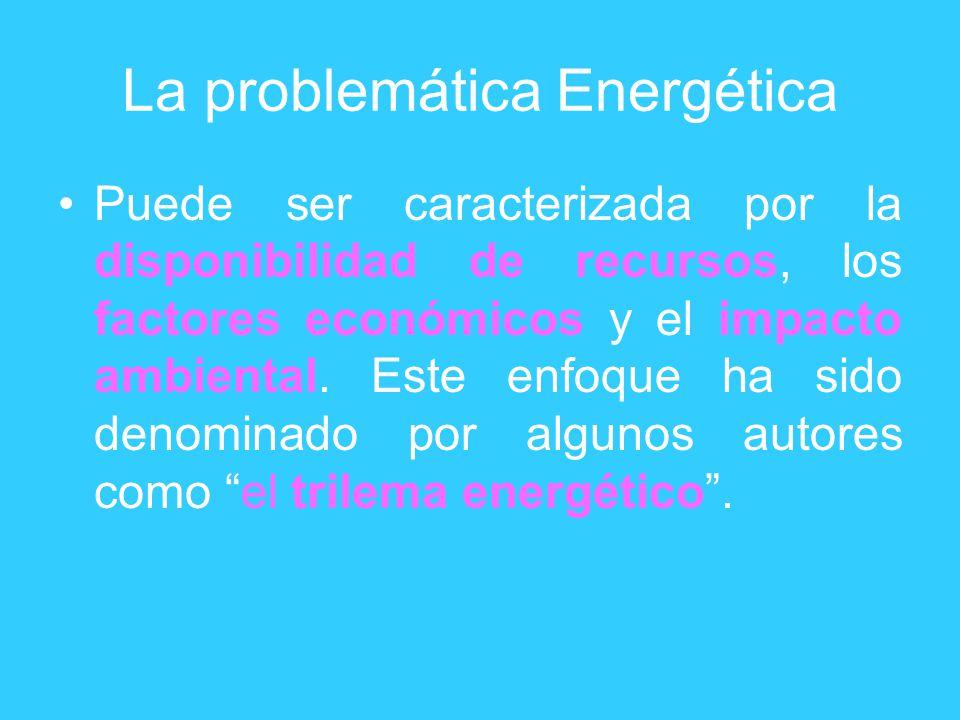 La problemática Energética Puede ser caracterizada por la disponibilidad de recursos, los factores económicos y el impacto ambiental. Este enfoque ha