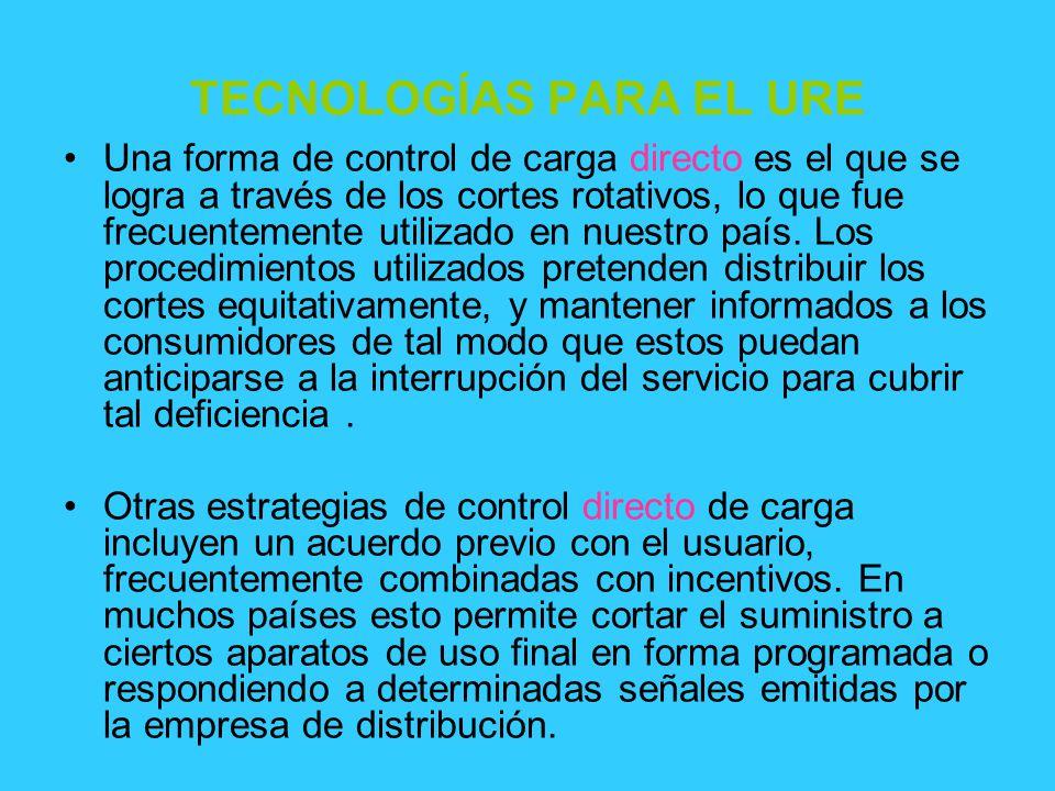 TECNOLOGÍAS PARA EL URE Una forma de control de carga directo es el que se logra a través de los cortes rotativos, lo que fue frecuentemente utilizado