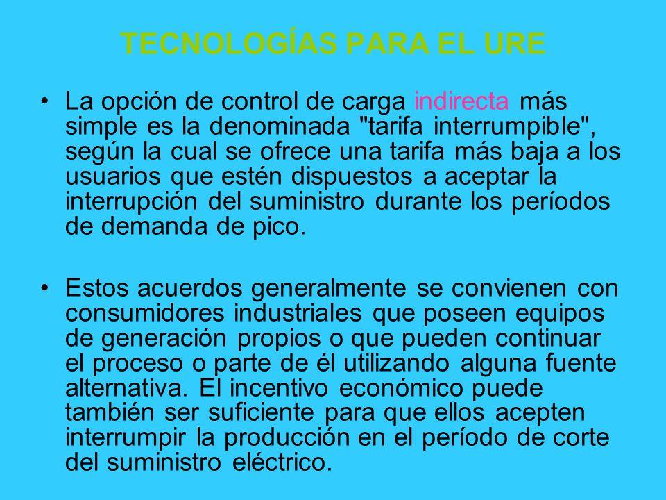 TECNOLOGÍAS PARA EL URE La opción de control de carga indirecta más simple es la denominada