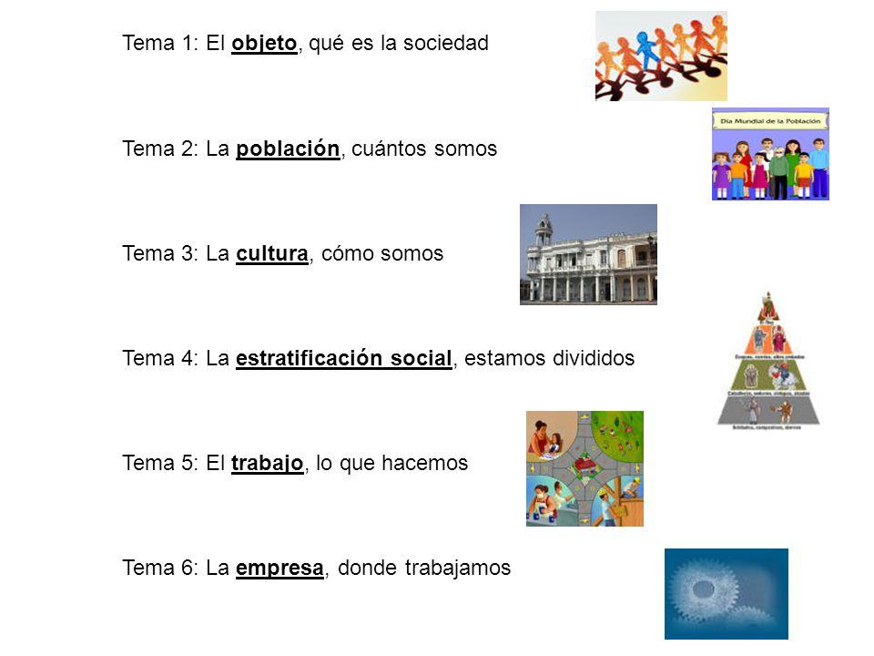 Tema 1: El objeto, qué es la sociedad Tema 2: La población, cuántos somos Tema 3: La cultura, cómo somos Tema 4: La estratificación social, estamos di