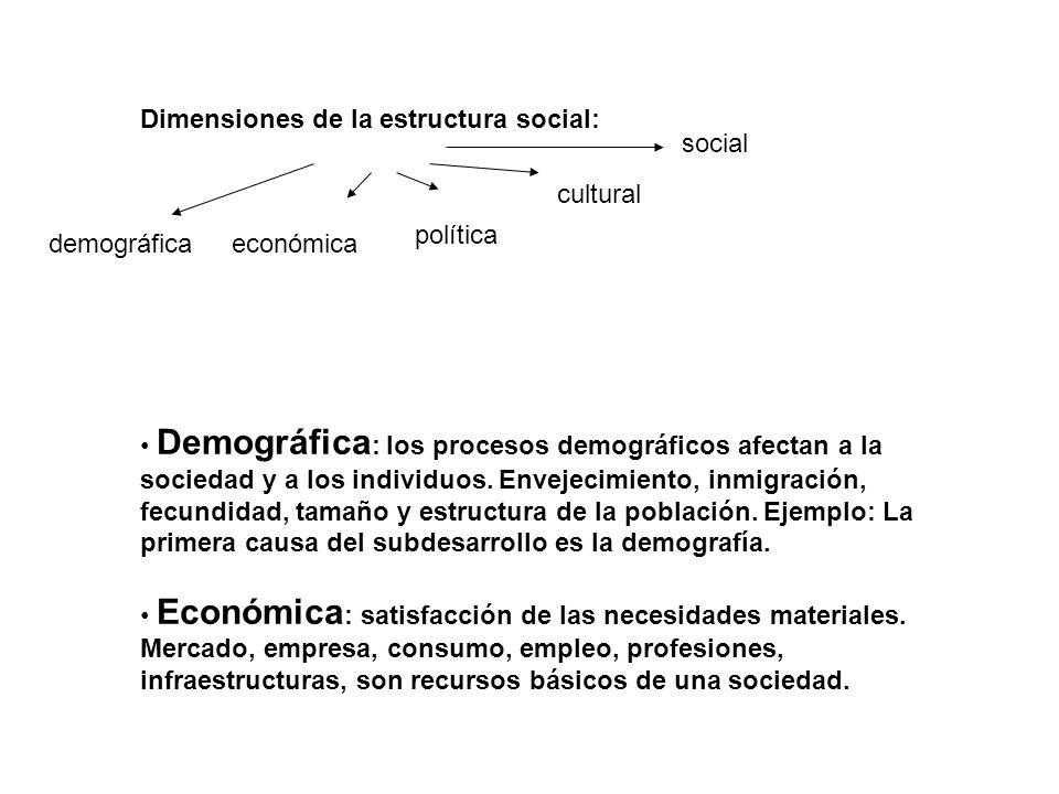 Dimensiones de la estructura social: Demográfica : los procesos demográficos afectan a la sociedad y a los individuos. Envejecimiento, inmigración, fe