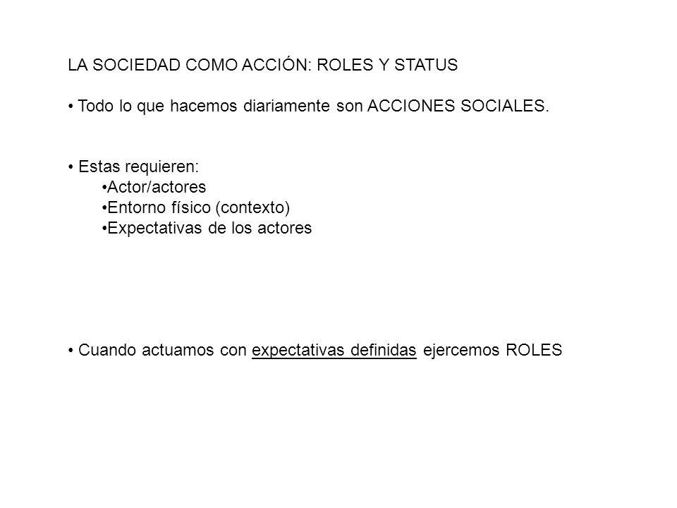 LA SOCIEDAD COMO ACCIÓN: ROLES Y STATUS Todo lo que hacemos diariamente son ACCIONES SOCIALES. Estas requieren: Actor/actores Entorno físico (contexto