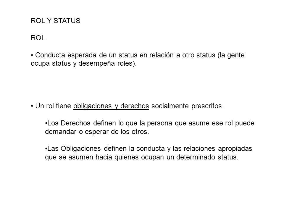 ROL Y STATUS ROL Conducta esperada de un status en relación a otro status (la gente ocupa status y desempeña roles). Un rol tiene obligaciones y derec