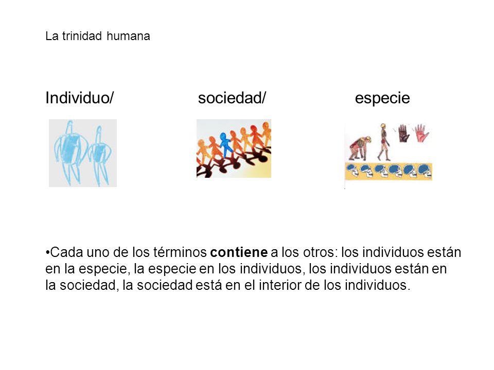 La trinidad humana Individuo/ sociedad/ especie Cada uno de los términos contiene a los otros: los individuos están en la especie, la especie en los i