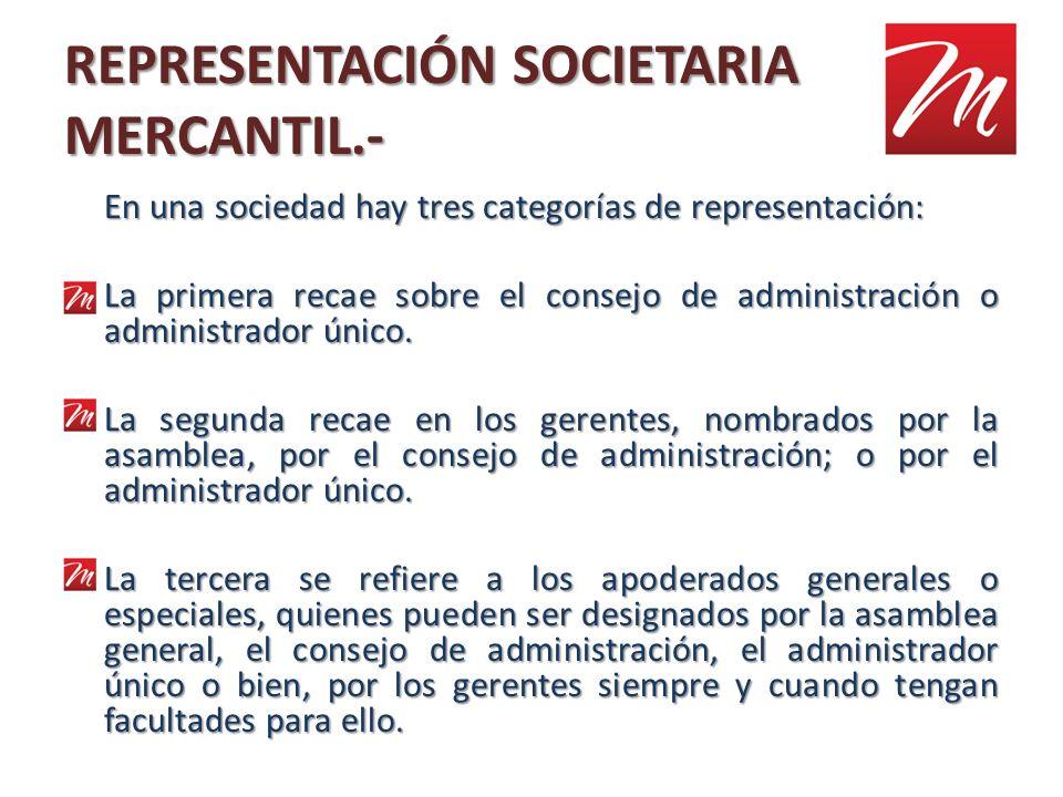 REPRESENTACIÓN SOCIETARIA MERCANTIL.- En una sociedad hay tres categorías de representación: La primera recae sobre el consejo de administración o adm