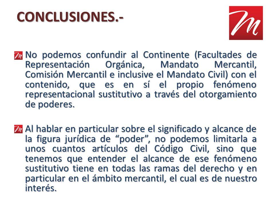 CONCLUSIONES.- No podemos confundir al Continente (Facultades de Representación Orgánica, Mandato Mercantil, Comisión Mercantil e inclusive el Mandato