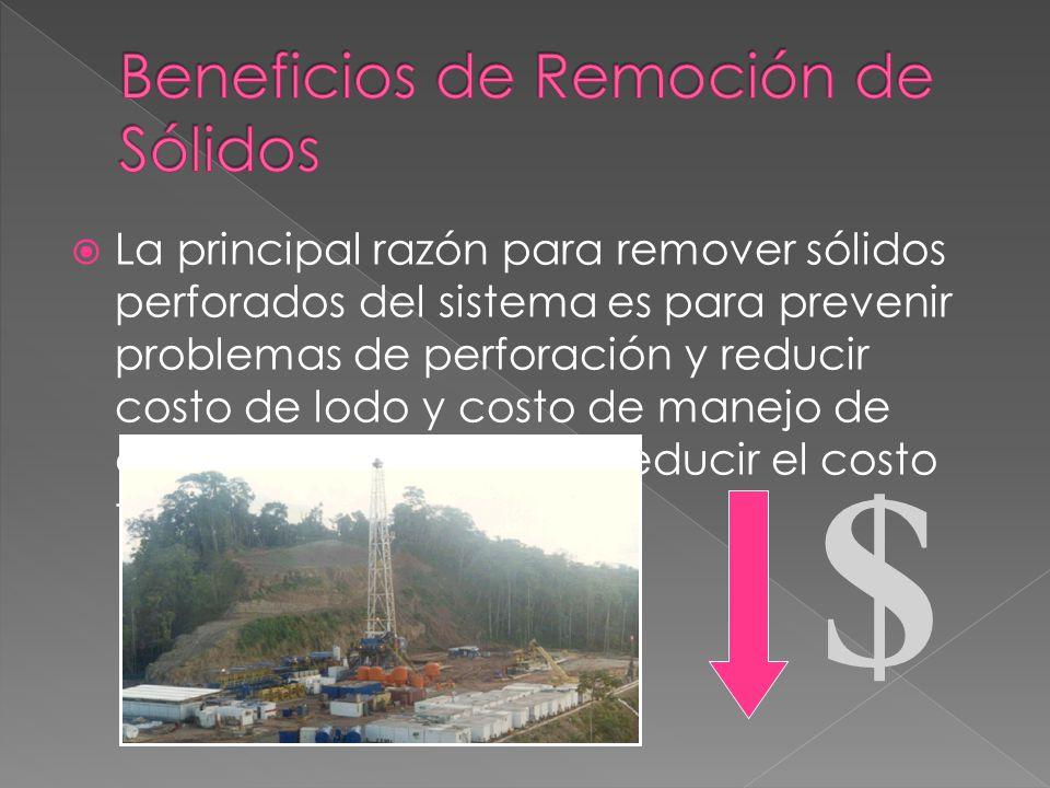 La principal razón para remover sólidos perforados del sistema es para prevenir problemas de perforación y reducir costo de lodo y costo de manejo de desechos.