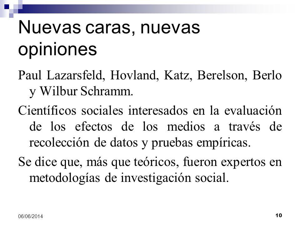 10 06/06/2014 Nuevas caras, nuevas opiniones Paul Lazarsfeld, Hovland, Katz, Berelson, Berlo y Wilbur Schramm.
