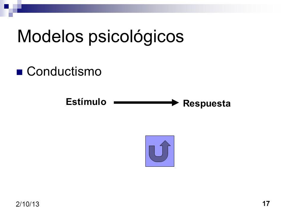 17 2/10/13 Modelos psicológicos Conductismo Estímulo Respuesta