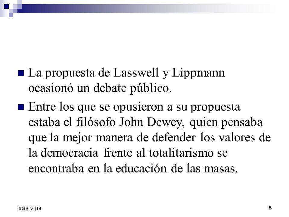 8 06/06/2014 La propuesta de Lasswell y Lippmann ocasionó un debate público. Entre los que se opusieron a su propuesta estaba el filósofo John Dewey,