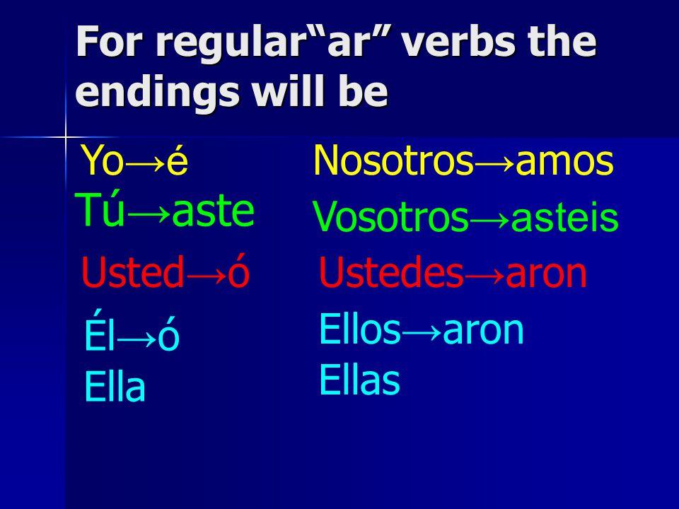 For regularar verbs the endings will be Yo é Tú aste Él ó Ella Usted ó Nosotros amos Vosotros asteis Ellos aron Ellas Ustedes aron