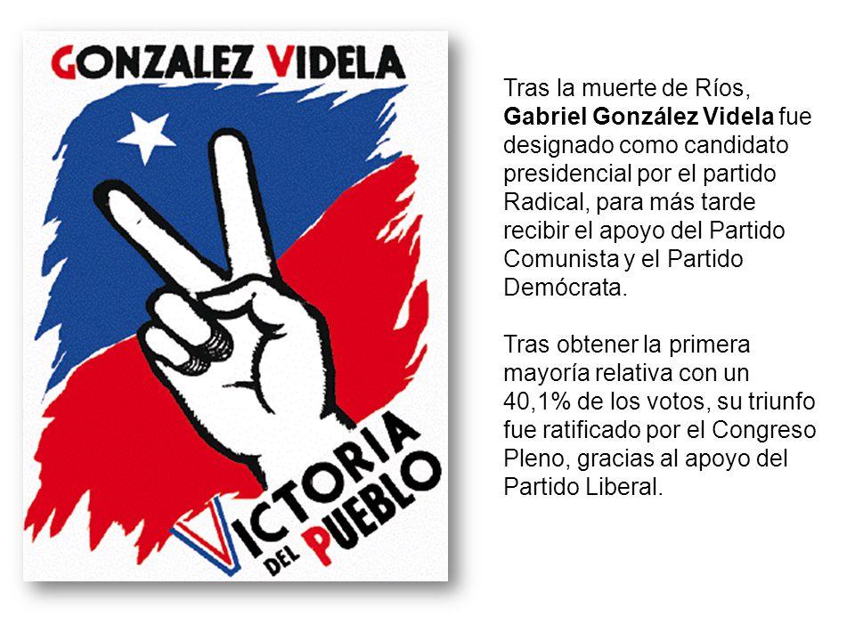 Tras la muerte de Ríos, Gabriel González Videla fue designado como candidato presidencial por el partido Radical, para más tarde recibir el apoyo del
