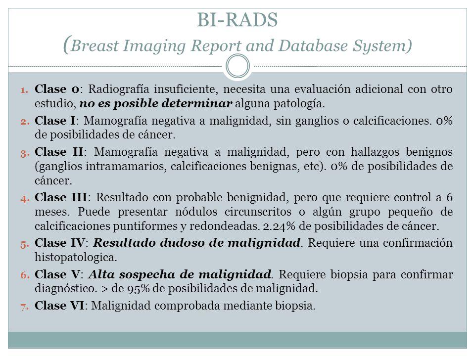 BI-RADS ( Breast Imaging Report and Database System) 1. Clase 0: Radiografía insuficiente, necesita una evaluación adicional con otro estudio, no es p