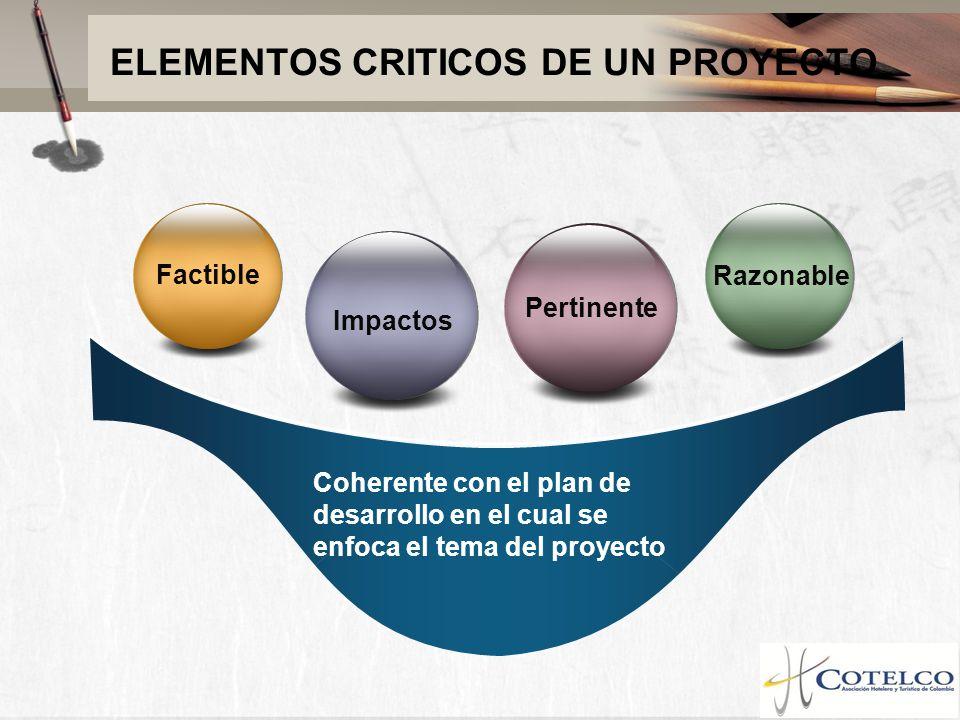 ELEMENTOS CRITICOS DE UN PROYECTO Coherente con el plan de desarrollo en el cual se enfoca el tema del proyecto Factible Razonable Impactos Pertinente
