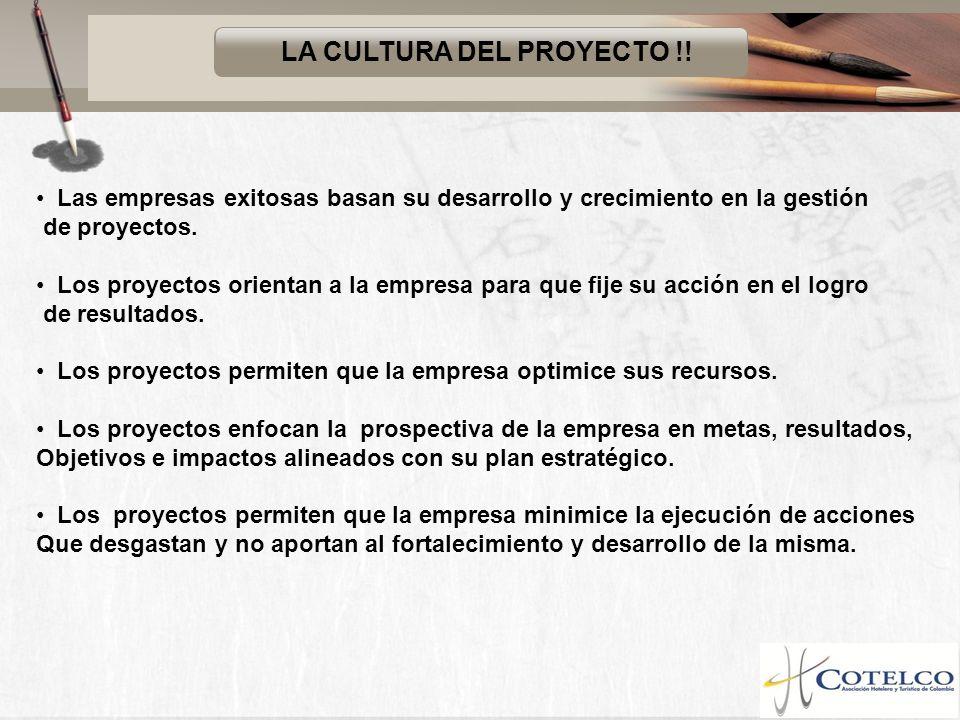 LA CULTURA DEL PROYECTO !! Las empresas exitosas basan su desarrollo y crecimiento en la gestión de proyectos. Los proyectos orientan a la empresa par