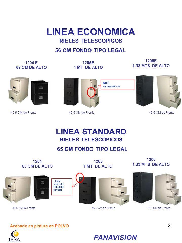 3 104-059 Archivador oficio 4 gavetas fondo largo, ECONOMAX, rieles con con cojinete, color negro o beige.