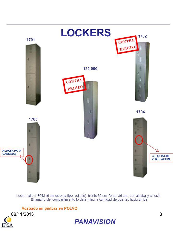 8 1704 Locker, alto 1.86 M (6 cm de pata tipo rodapié), frente 32 cm, fondo 36 cm., con aldaba y celosía. El tamaño del compartimiento lo determina la