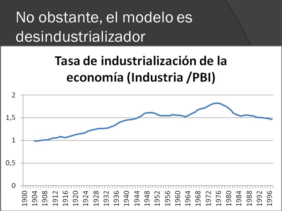 No obstante, el modelo es desindustrializador