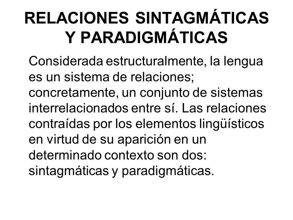 RELACIONES SINTAGMÁTICAS Y PARADIGMÁTICAS Considerada estructuralmente, la lengua es un sistema de relaciones; concretamente, un conjunto de sistemas interrelacionados entre sí.