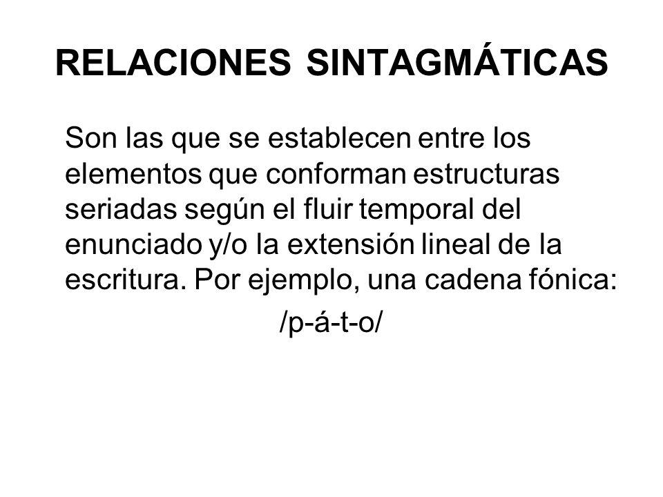 RELACIONES SINTAGMÁTICAS Son las que se establecen entre los elementos que conforman estructuras seriadas según el fluir temporal del enunciado y/o la extensión lineal de la escritura.