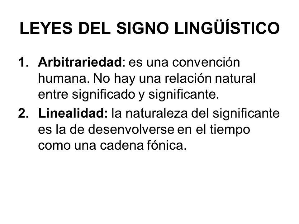 LEYES DEL SIGNO LINGÜÍSTICO 1.Arbitrariedad: es una convención humana.