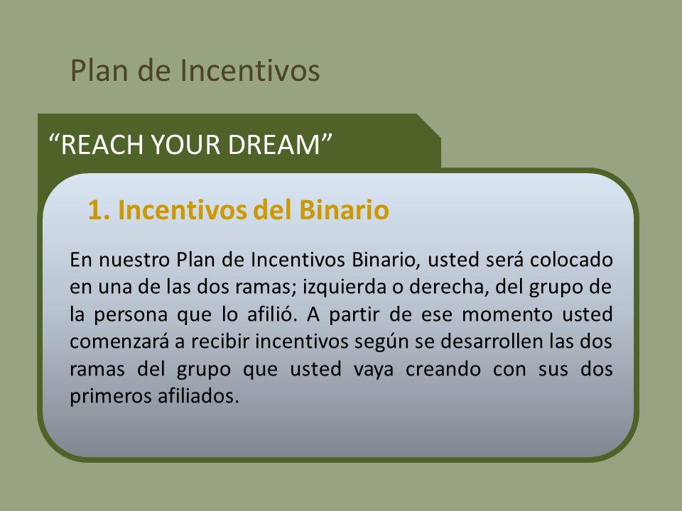 Plan de Incentivos REACH YOUR DREAM En nuestro Plan de Incentivos Binario, usted será colocado en una de las dos ramas; izquierda o derecha, del grupo de la persona que lo afilió.