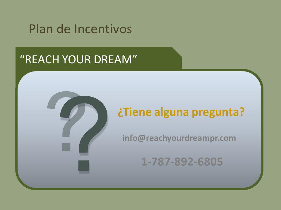 Plan de Incentivos REACH YOUR DREAM ¿Tiene alguna pregunta.