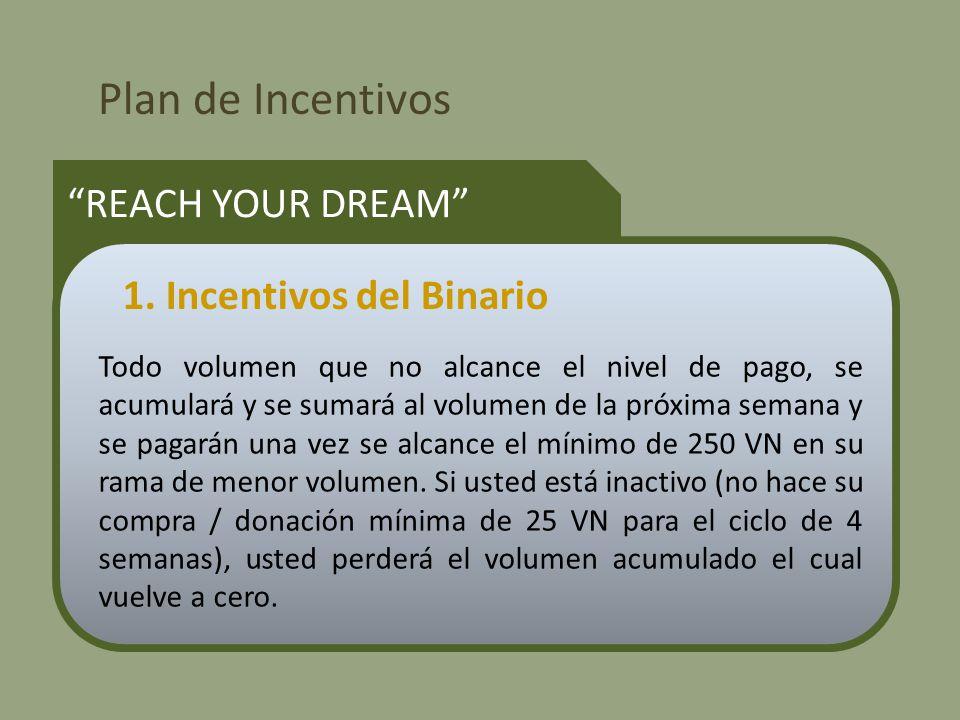 Plan de Incentivos REACH YOUR DREAM Todo volumen que no alcance el nivel de pago, se acumulará y se sumará al volumen de la próxima semana y se pagarán una vez se alcance el mínimo de 250 VN en su rama de menor volumen.
