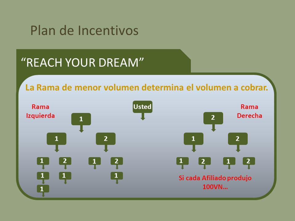 Plan de Incentivos REACH YOUR DREAM La Rama de menor volumen determina el volumen a cobrar.