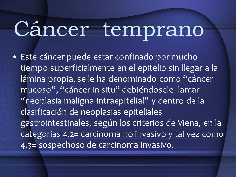 Cáncer temprano Este cáncer puede estar confinado por mucho tiempo superficialmente en el epitelio sin llegar a la lámina propia, se le ha denominado