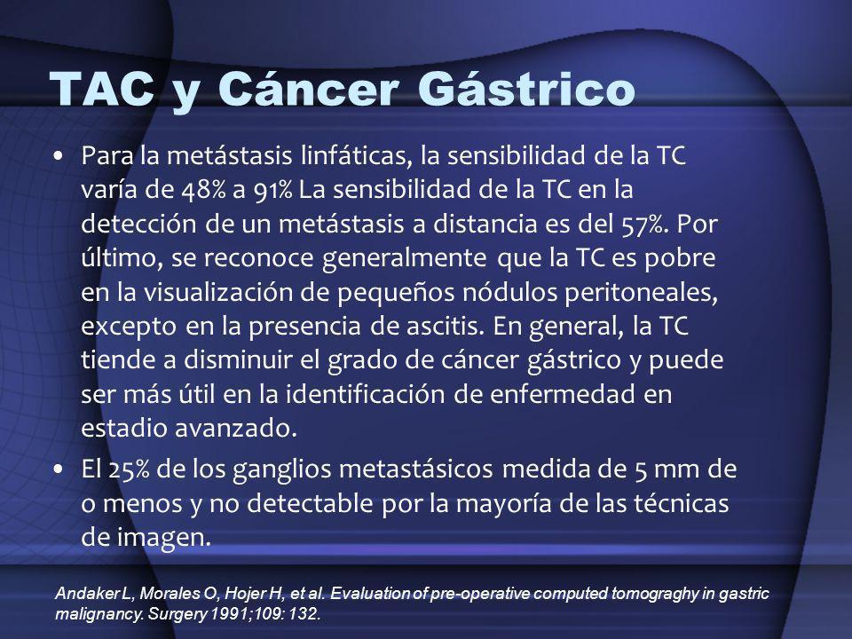 TAC y Cáncer Gástrico Para la metástasis linfáticas, la sensibilidad de la TC varía de 48% a 91% La sensibilidad de la TC en la detección de un metást