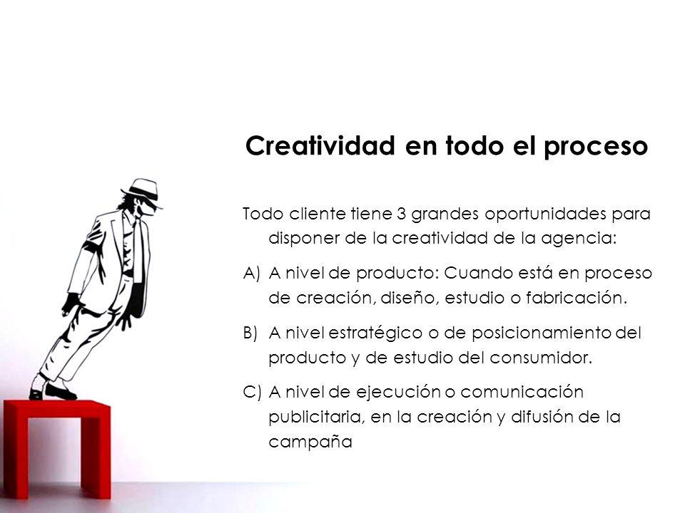 Todo cliente tiene 3 grandes oportunidades para disponer de la creatividad de la agencia: A)A nivel de producto: Cuando está en proceso de creación, diseño, estudio o fabricación.