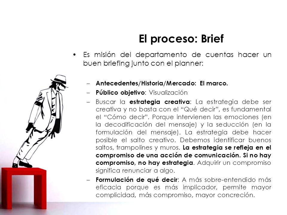 Es misión del departamento de cuentas hacer un buen briefing junto con el planner: – Antecedentes/Historia/Mercado: El marco.