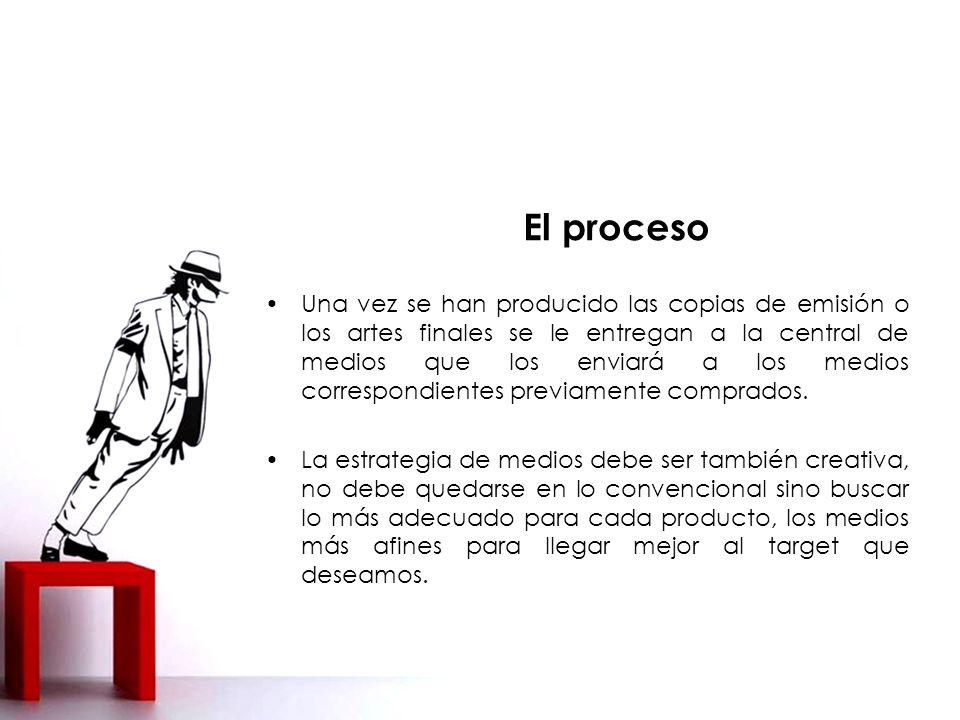 El proceso Una vez se han producido las copias de emisión o los artes finales se le entregan a la central de medios que los enviará a los medios correspondientes previamente comprados.