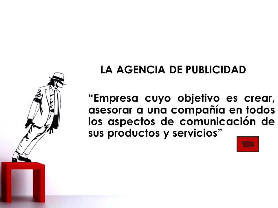 LA AGENCIA DE PUBLICIDAD Empresa cuyo objetivo es crear, asesorar a una compañía en todos los aspectos de comunicación de sus productos y servicios Asociación Española de Anunciantes