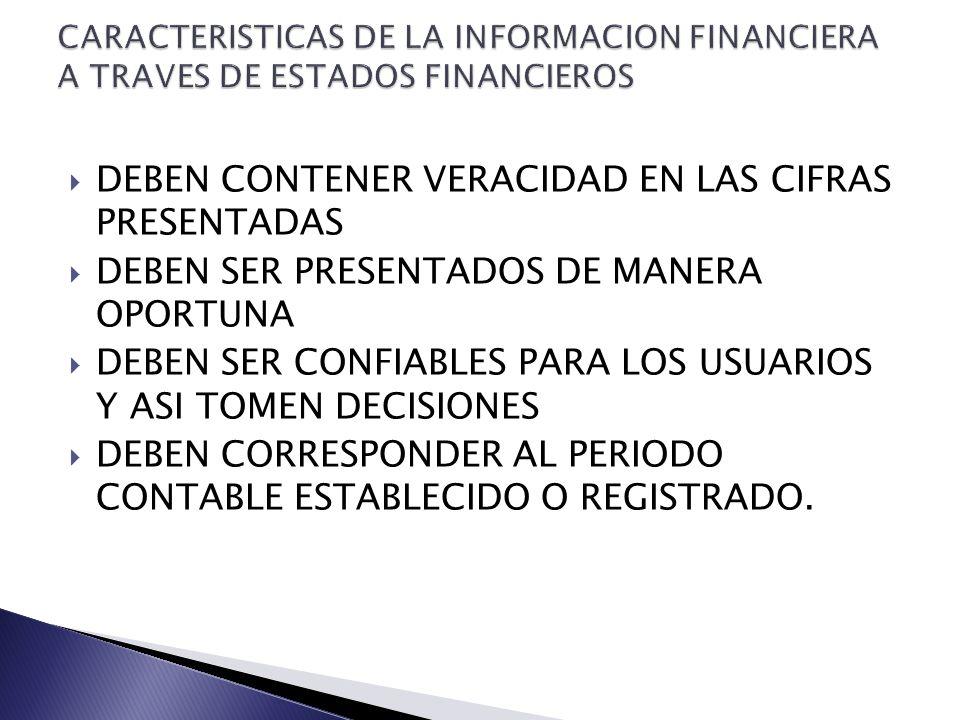 DEBEN CONTENER VERACIDAD EN LAS CIFRAS PRESENTADAS DEBEN SER PRESENTADOS DE MANERA OPORTUNA DEBEN SER CONFIABLES PARA LOS USUARIOS Y ASI TOMEN DECISIONES DEBEN CORRESPONDER AL PERIODO CONTABLE ESTABLECIDO O REGISTRADO.