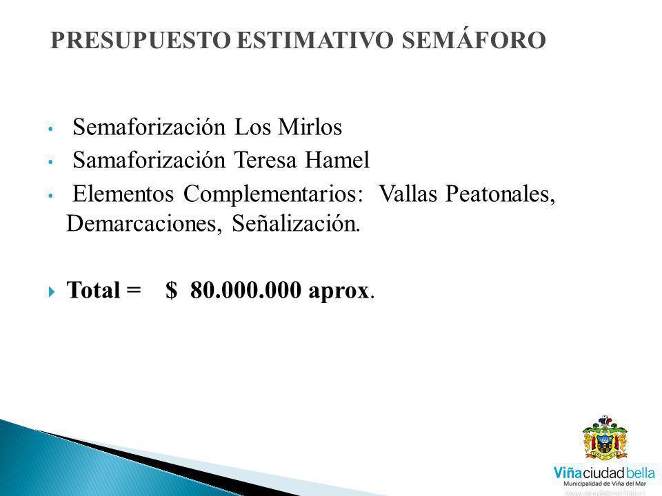 Semaforización Los Mirlos Samaforización Teresa Hamel Elementos Complementarios: Vallas Peatonales, Demarcaciones, Señalización. Total = $ 80.000.000