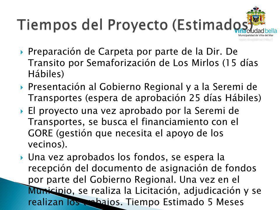 Preparación de Carpeta por parte de la Dir. De Transito por Semaforización de Los Mirlos (15 días Hábiles) Presentación al Gobierno Regional y a la Se