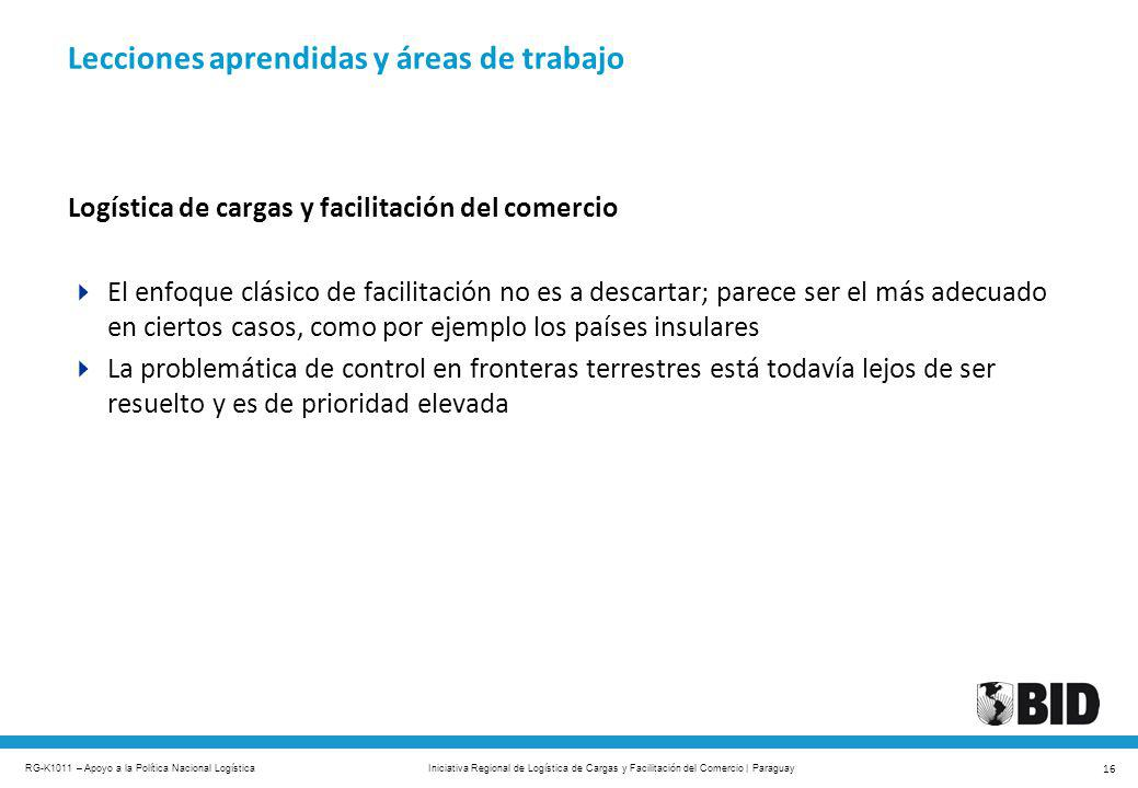 RG-K1011 – Apoyo a la Política Nacional Logística 16 Iniciativa Regional de Logística de Cargas y Facilitación del Comercio | Paraguay Logística de ca