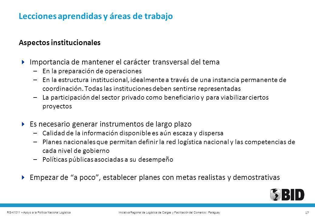 RG-K1011 – Apoyo a la Política Nacional Logística 17 Iniciativa Regional de Logística de Cargas y Facilitación del Comercio | Paraguay Aspectos instit
