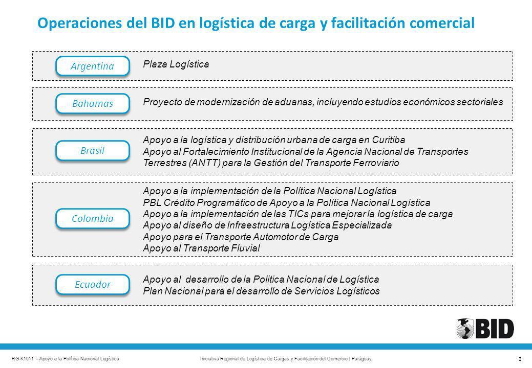 RG-K1011 – Apoyo a la Política Nacional Logística 3 Iniciativa Regional de Logística de Cargas y Facilitación del Comercio | Paraguay Bahamas Brasil C