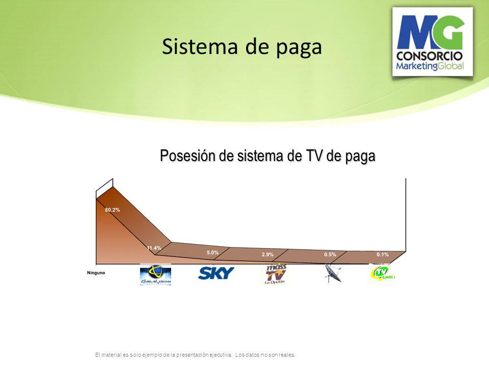 El material es solo ejemplo de la presentación ejecutiva. Los datos no son reales. Posesión de sistema de TV de paga Sistema de paga
