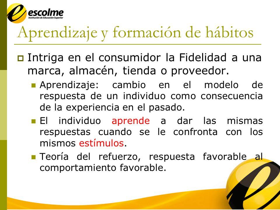 Aprendizaje y formación de hábitos Intriga en el consumidor la Fidelidad a una marca, almacén, tienda o proveedor.