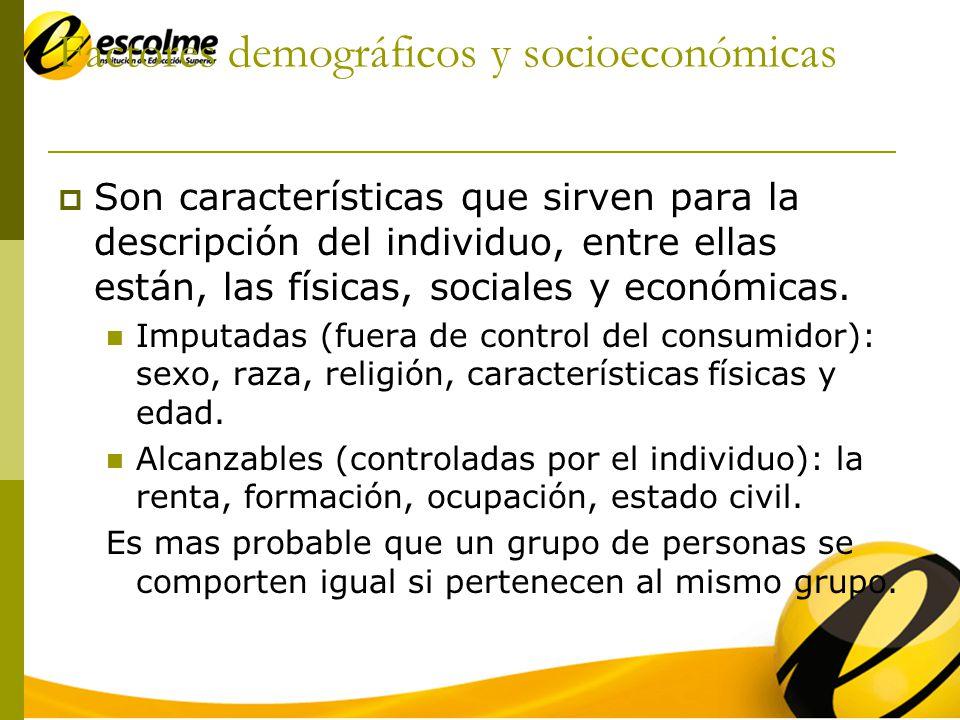 Factores demográficos y socioeconómicas Son características que sirven para la descripción del individuo, entre ellas están, las físicas, sociales y económicas.