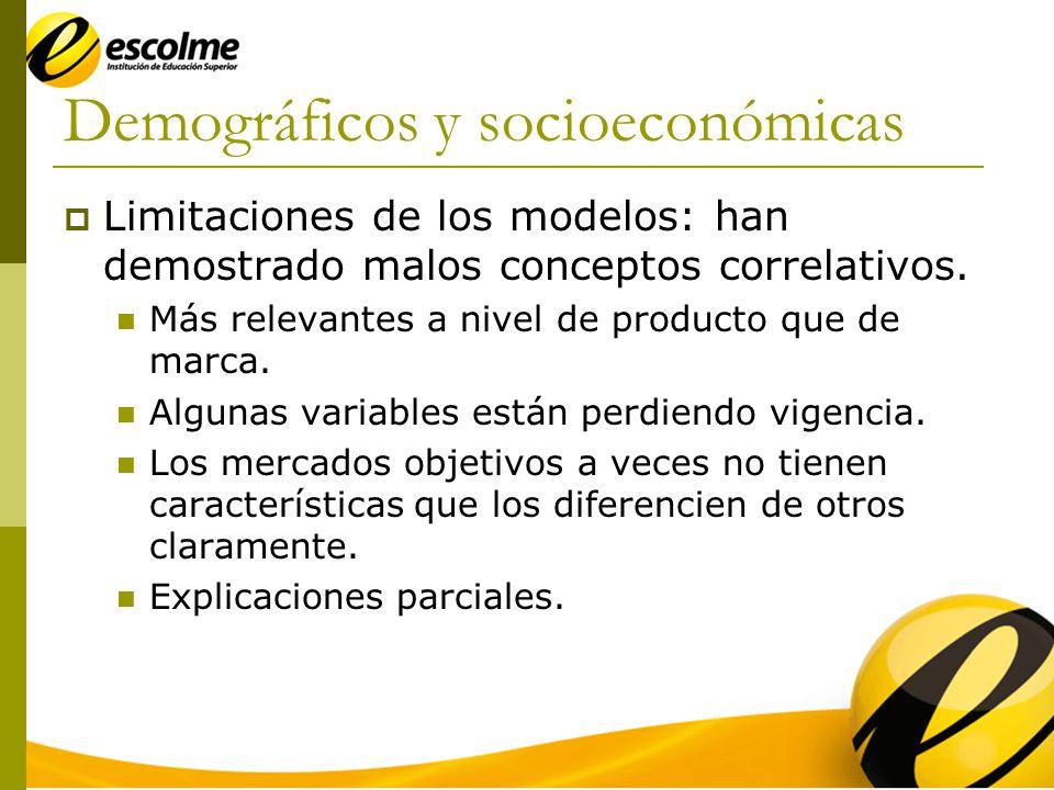 Demográficos y socioeconómicas Limitaciones de los modelos: han demostrado malos conceptos correlativos.