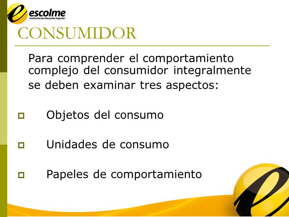 CONSUMIDOR Para comprender el comportamiento complejo del consumidor integralmente se deben examinar tres aspectos: Objetos del consumo Unidades de consumo Papeles de comportamiento