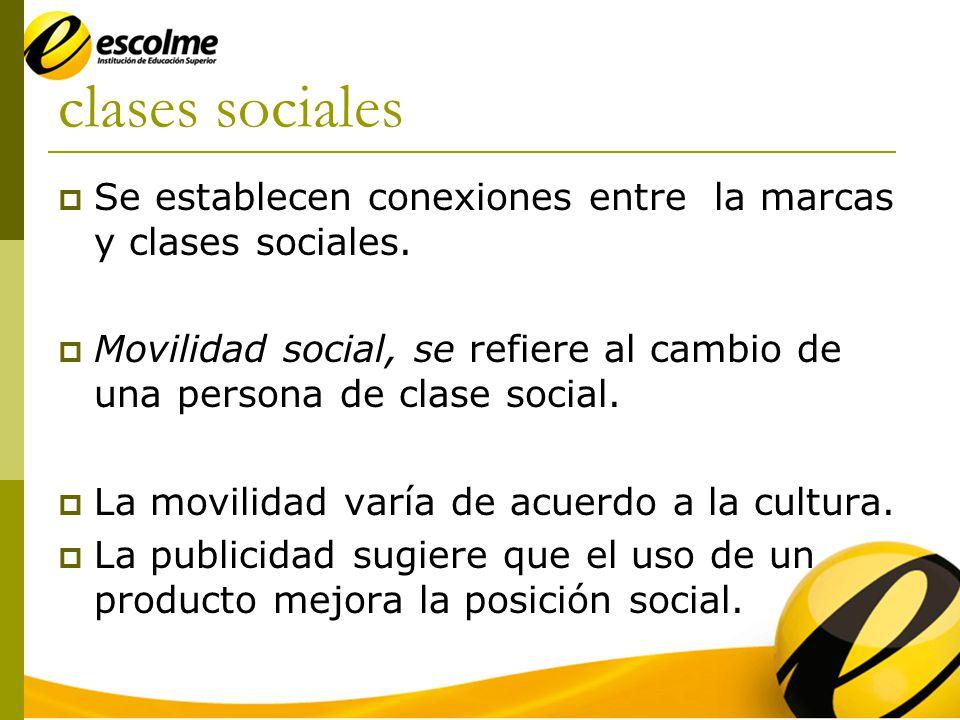 clases sociales Se establecen conexiones entre la marcas y clases sociales.
