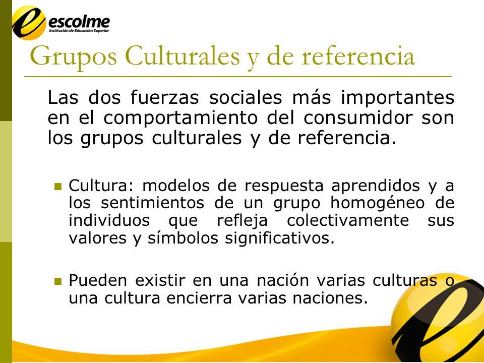 Grupos Culturales y de referencia Las dos fuerzas sociales más importantes en el comportamiento del consumidor son los grupos culturales y de referencia.