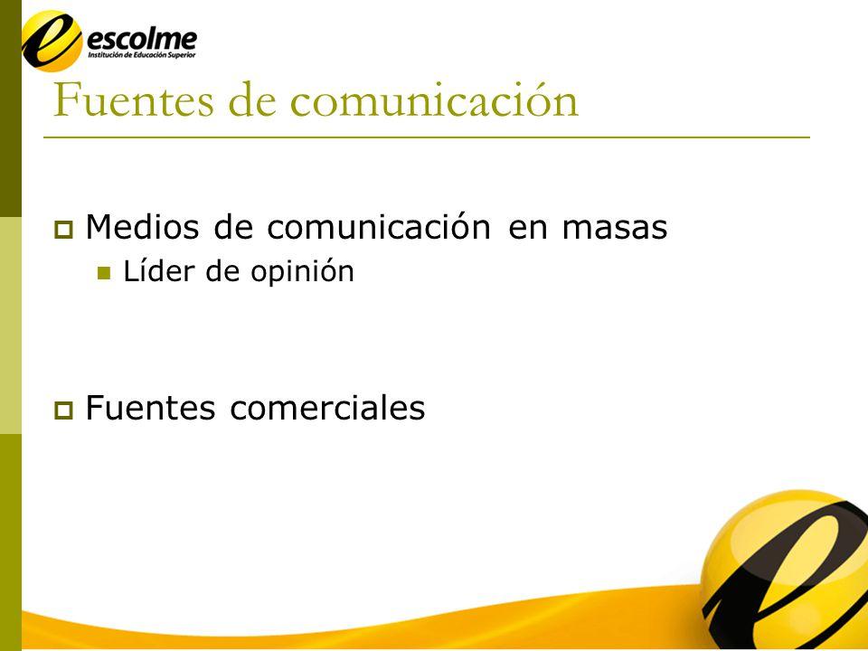 Fuentes de comunicación Medios de comunicación en masas Líder de opinión Fuentes comerciales